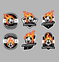 Soccerball logo and badge set image vector