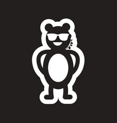 Style black and white icon bear security vector