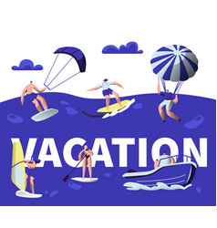 summer vacation water sport activity banner vector image
