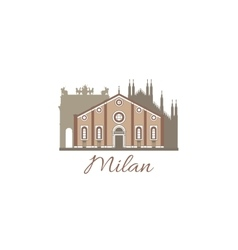 template with famous landmarks of Milan vector image