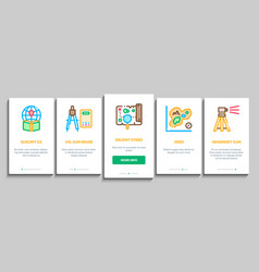 Topography research onboarding elements icons set vector