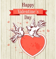 Two doves and red heart vector image