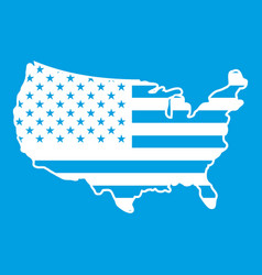 usa map icon white vector image