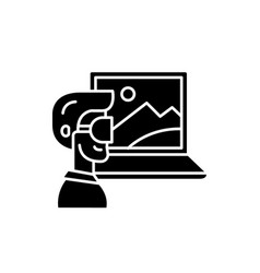 virtual reality black icon sign on vector image