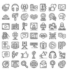 Vlog icon set outline style vector