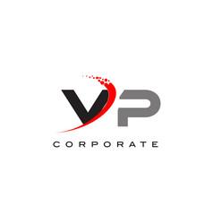 Vp modern letter logo design with swoosh vector