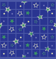 Watercolor stars grid seamless pattern vector