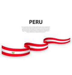 waving ribbon or banner with flag peru vector image