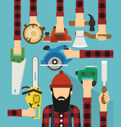 worker and lumberjack design flat vector image