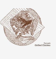 xagrilled chicken on wood tray asian style vector image