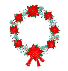 Xmas Wreath of Red Poinsettia Flowers and Bow vector image