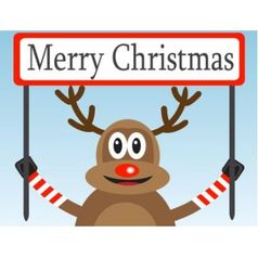Christmas deer with a congratulatory poster vector image vector image