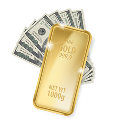 gold bar and dollars on white background for vector image vector image