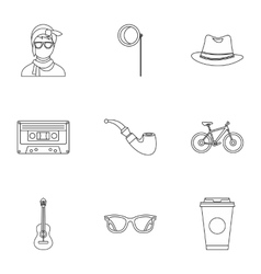 Hipster culture icons set outline style vector image