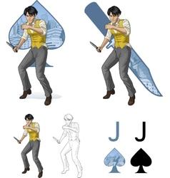 Jack of spades asian brawling man Mafia card set vector image vector image