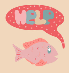 lovely with the scared fish vector image