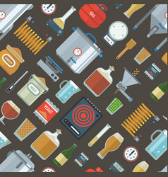 pattern of home brewing factory production items vector image