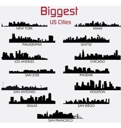 Set of Biggest American cities skylines vector image vector image
