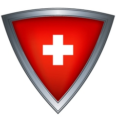 steel shield with flag switzerland vector image