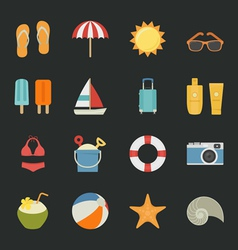 Summer Vacation icons with black background vector image vector image