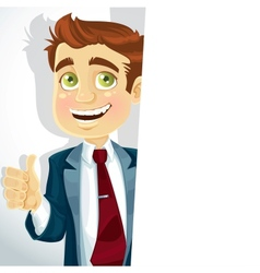 Cute businessman shows OK and hold big banner vector image vector image