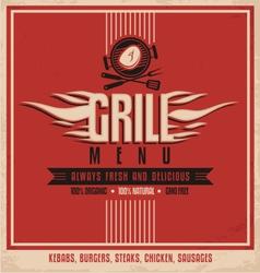 Grill menu retro flyer design template vector image