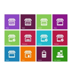 Shop icons on color background vector image vector image