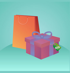 shopping bags gift box and tag with discount fo vector image