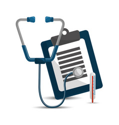 stethoscope clipboard medicine check and vector image
