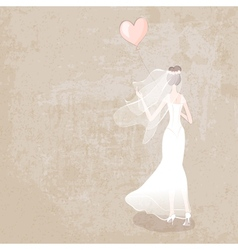 Bride in wedding dress with balloon vector