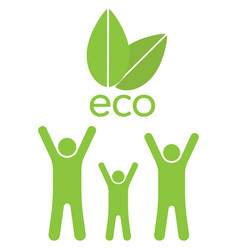 eco family ahd leaves vector image vector image