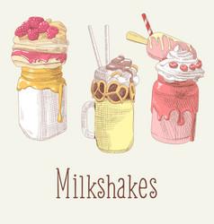 milkshake and ice cream hand drawn doodle vector image vector image