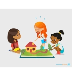 Three young smiling girls sit on floor talk and vector image