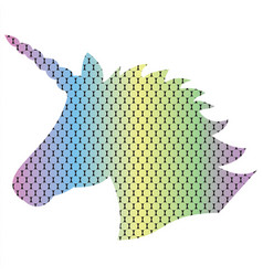 3d dotted rainbow unicorn shape vector image