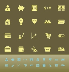 Money color icons on green background vector