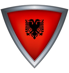 steel shield with flag albania vector image