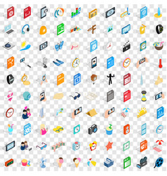 100 selfie icons set isometric 3d style vector image