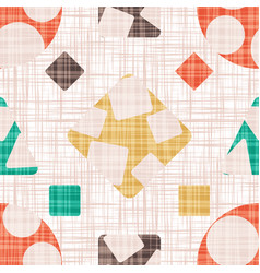 abstract print textile with geometric shapes vector image