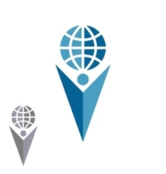 Abstract silhouette man logo holding globe human vector