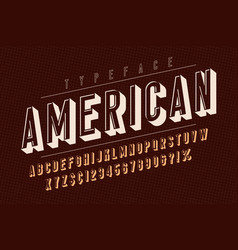 American trendy vintage display font design vector