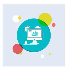 analytics chart seo web setting white glyph icon vector image