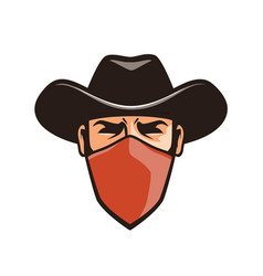 Angry thug in mask cowboy robber bandit in hat vector