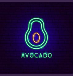 avocado neon label vector image