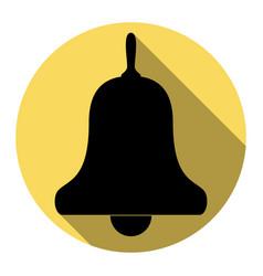 bell alarm handbell sign flat black icon vector image