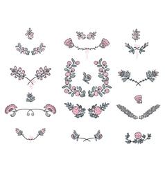 Big set of floral graphic design elements vector