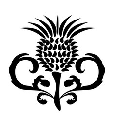 Black and white thistle flower with decorative lea vector
