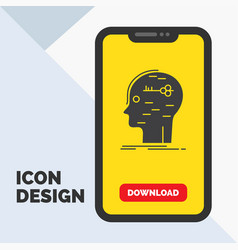 Brain hack hacking key mind glyph icon in mobile vector