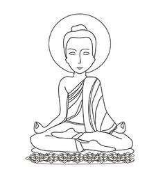 Buddhist monk meditation vector