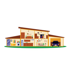 building interior plan in cross section cut vector image