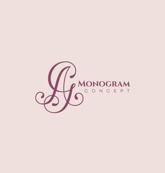 calligraphic monogram ag vector image